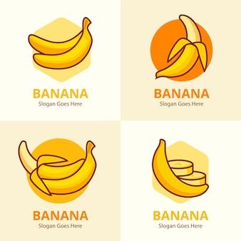 Colección de plantillas de logotipos de plátanos