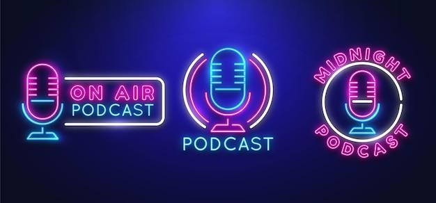 Colección de plantillas de logotipos de podcast de neón