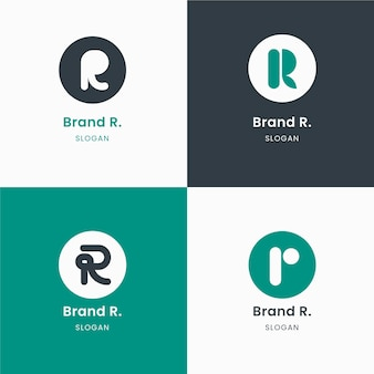Colección de plantillas con logotipos r planos
