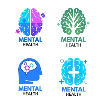 Colección de plantillas de logotipos de salud mental