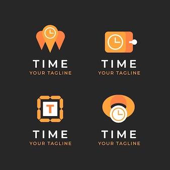 Colección de plantillas de logotipos de tiempo plano