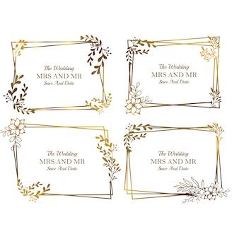 Colección de plantillas de marco de boda floral dorada