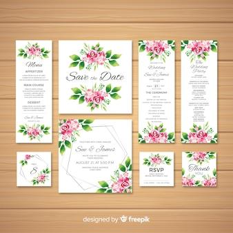 Colección de plantillas de material de papelería de boda en acuarela