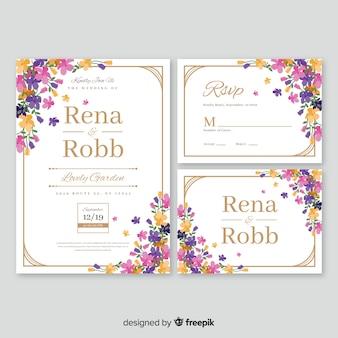 Colección de plantillas de material de papelería de boda en diseño plano