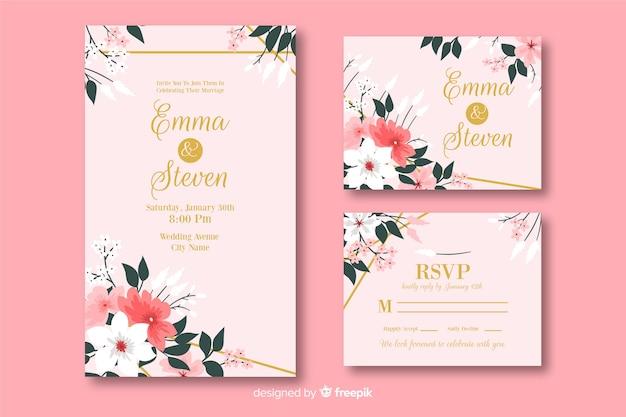 Colección de plantillas de material de papelería de boda