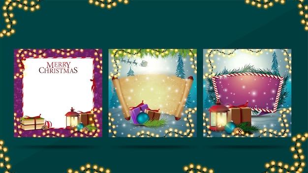 Colección de plantillas navideñas en blanco decoradas con elementos de invierno