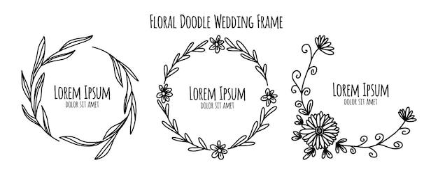 Colección de plantillas de ornamento de marco de boda floral doodle bosquejo