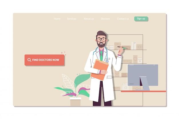 Colección de plantillas de páginas web para encontrar al médico más cercano.