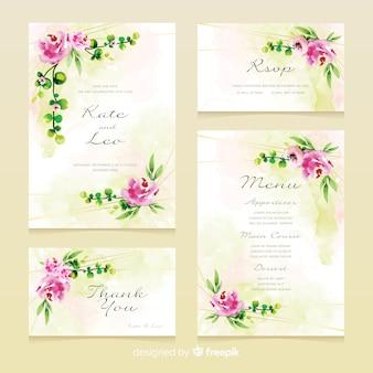 Colección de plantillas de papelería de boda floral