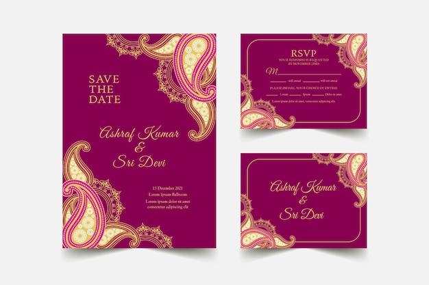 Colección de plantillas de papelería de boda india