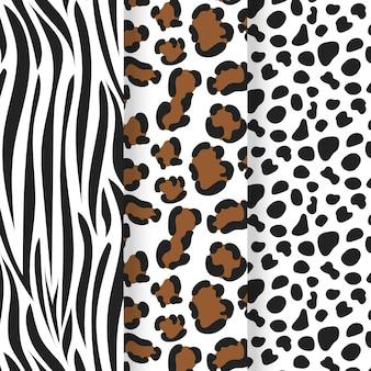 Colección de plantillas de patrones sin fisuras con estampado animal