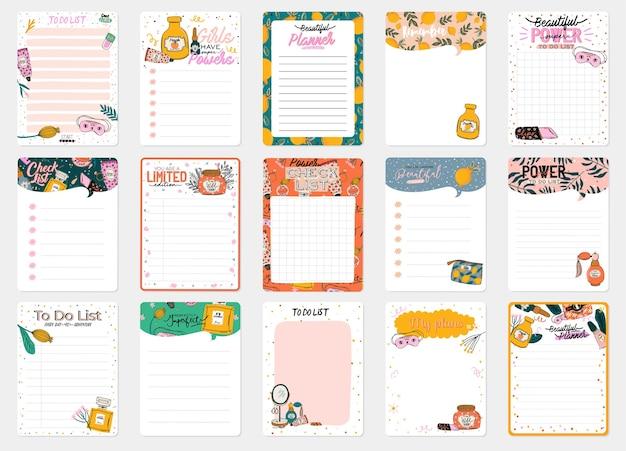 Colección de plantillas de planificador diario decoradas