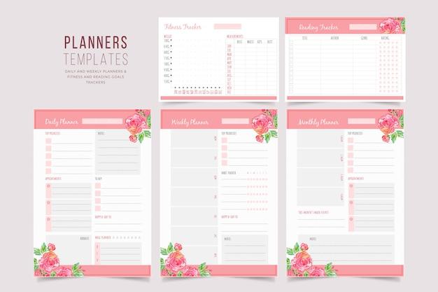 Colección de plantillas de planificador floral
