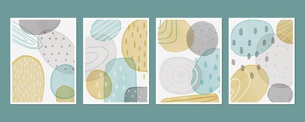 Colección de plantillas de portada abstracta con formas orgánicas