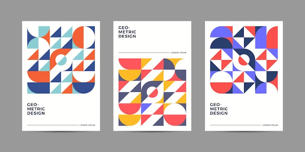 Colección de plantillas de portada geométrica retro