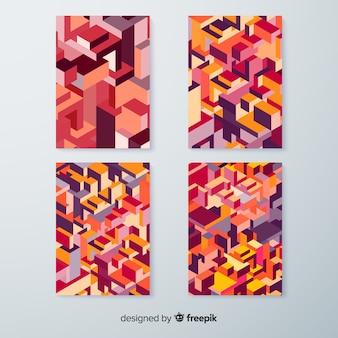 Colección de plantillas de portadas estampadas en isométrico