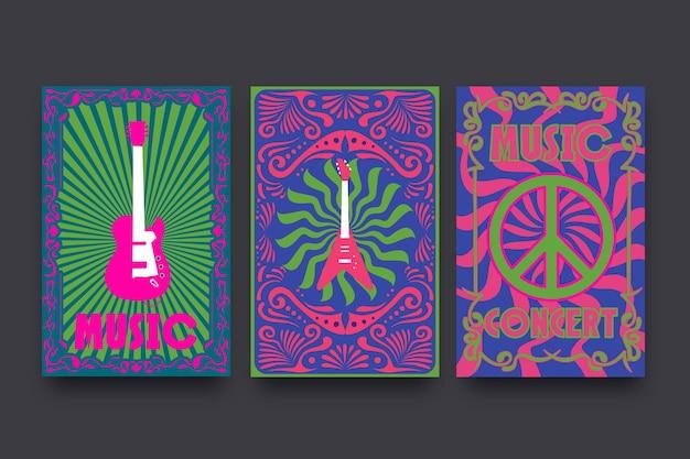Colección de plantillas de portadas de música psicodélica
