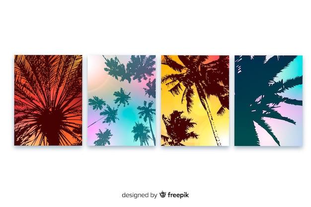 Colección de plantillas de portadas de playa con degradado