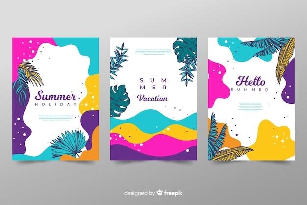 Colección de plantillas de portadas de verano abstractas