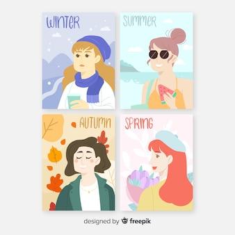Colección de plantillas de póster estacionales en acuarela
