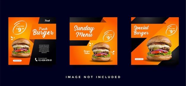 Colección de plantillas de promoción de redes sociales de comida y gastronomía