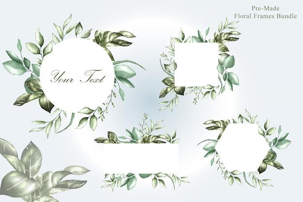 Colección de plantillas de propósito múltiple de marcos de boda de acuarela