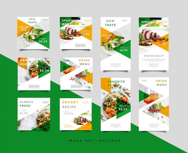 Colección de plantillas de publicaciones de alimentos en redes sociales e historias de intagram