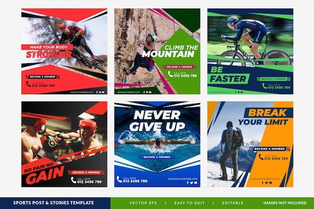 Colección de plantillas de publicaciones de banner de redes sociales deportivas