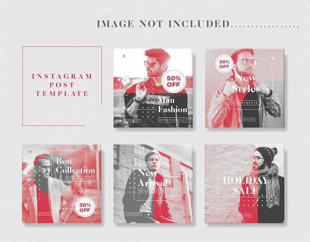 Colección de plantillas de publicaciones de instagram minimalista para hombre