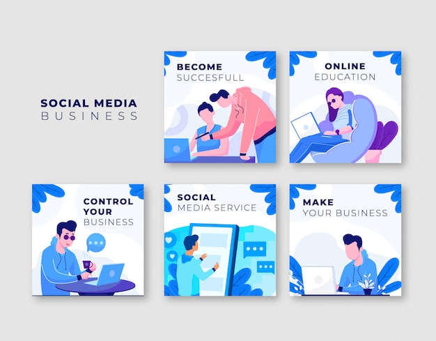 Colección de plantillas de publicaciones de instagram de negocios