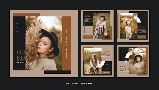 Colección de plantillas de publicaciones de redes sociales minimalistas de moda