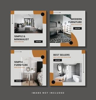 Colección de plantillas de publicaciones de redes sociales minimalistas de muebles