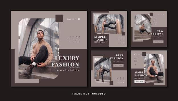 Colección de plantillas de publicaciones de redes sociales de moda moderna