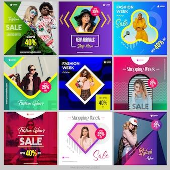 Colección de plantillas de redes sociales para marketing digital.