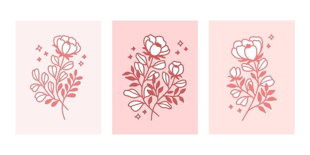 Colección de plantillas de tarjetas de flores botánicas rosa dibujadas a mano