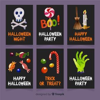 Colección de plantillas de tarjetas de halloween en acuarela