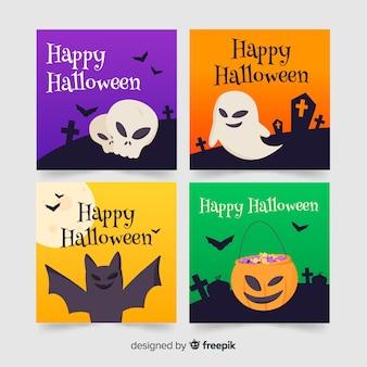 Colección de plantillas de tarjetas de halloween dibujadas a mano