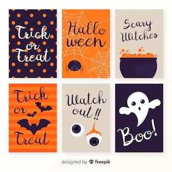 Colección de plantillas de tarjetas de halloween en diseño plano