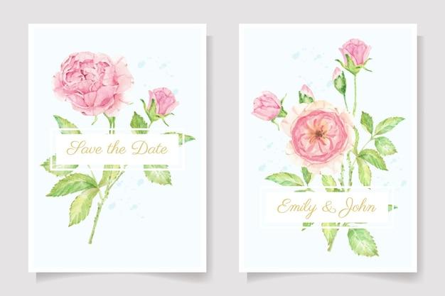 Colección de plantillas de tarjetas de invitación de boda de ramo de rama de flor rosa rosa acuarela