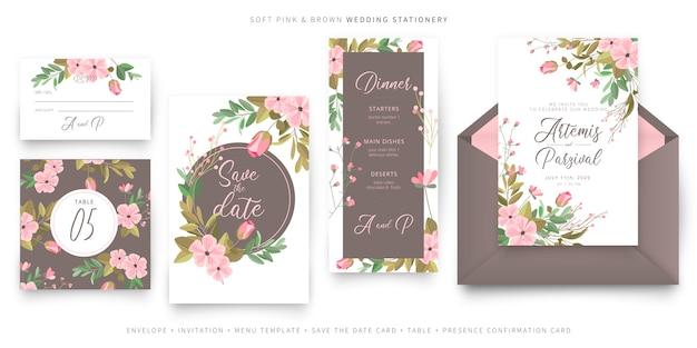 Colección de plantillas de tarjetas de invitación de boda rosa y marrón suave