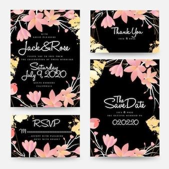 Colección de plantillas de tarjetas de invitación de boda