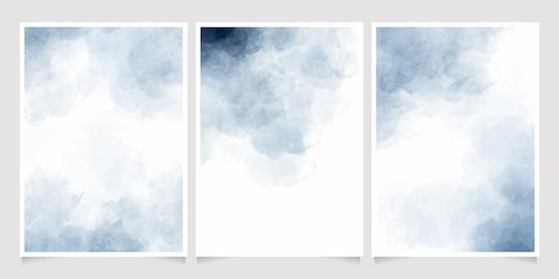 Colección de plantillas de tarjetas de invitación de salpicaduras de lavado húmedo de acuarela índigo