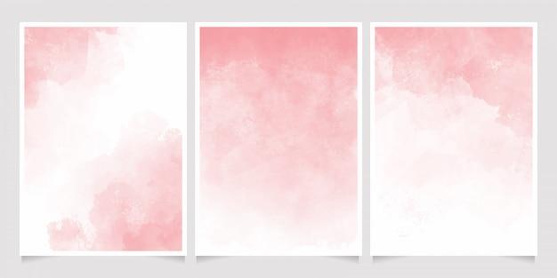 Colección de plantillas de tarjetas de invitación de salpicaduras de lavado húmedo de acuarela rosa 5 x 7