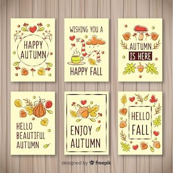 Colección de plantillas de tarjetas de otoño dibujadas a mano