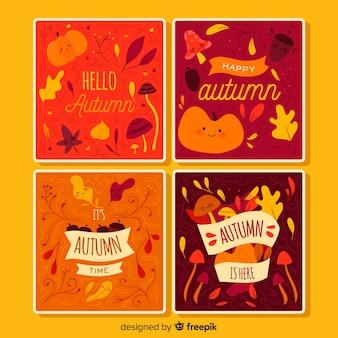 Colección de plantillas de tarjetas de otoño en diseño plano
