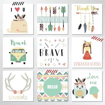 Colección de plantillas de tarjetas con plumas