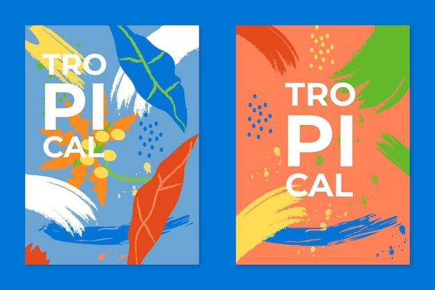 Colección de plantillas de tarjetas tropicales abstractas