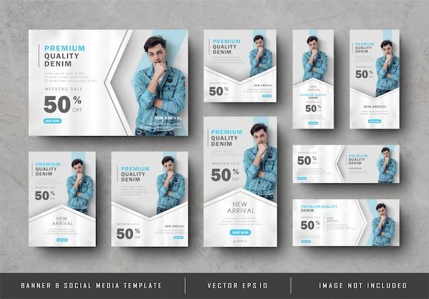 Colección de plantillas de venta de promoción de banner digital azul minimalista de redes sociales