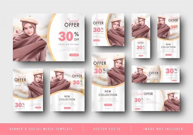 Colección de plantillas de venta de promoción de banner digital de oro rosa femenino