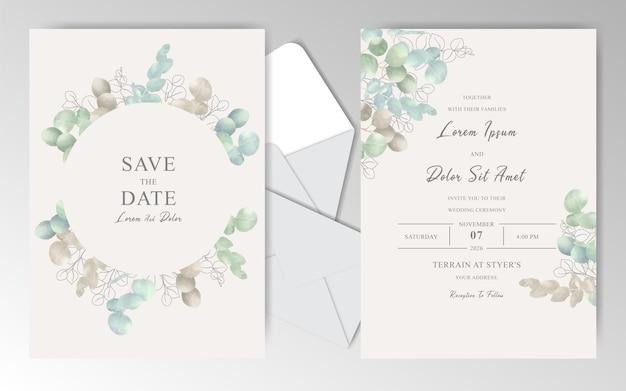 Colección de plantillas wtationary de boda de acuarela con eucalipto verde